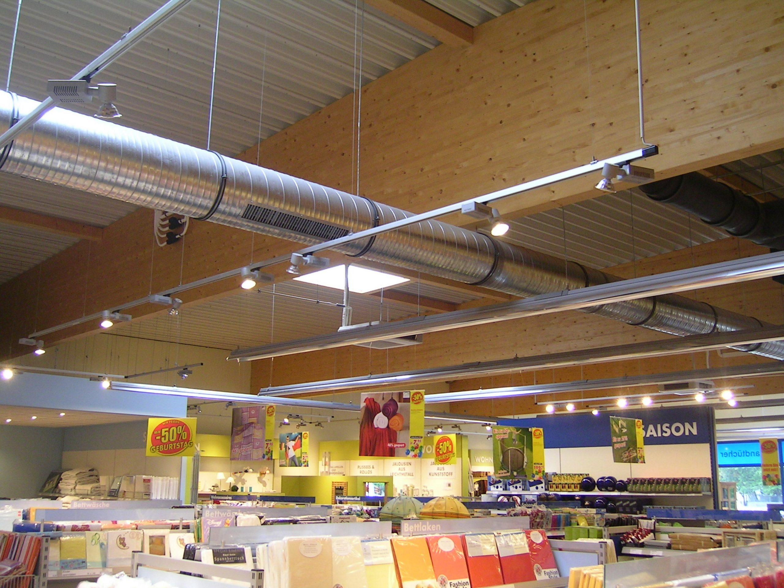 Satteldachbinder Markt BSH- Dachkonstruktion Schubfeld