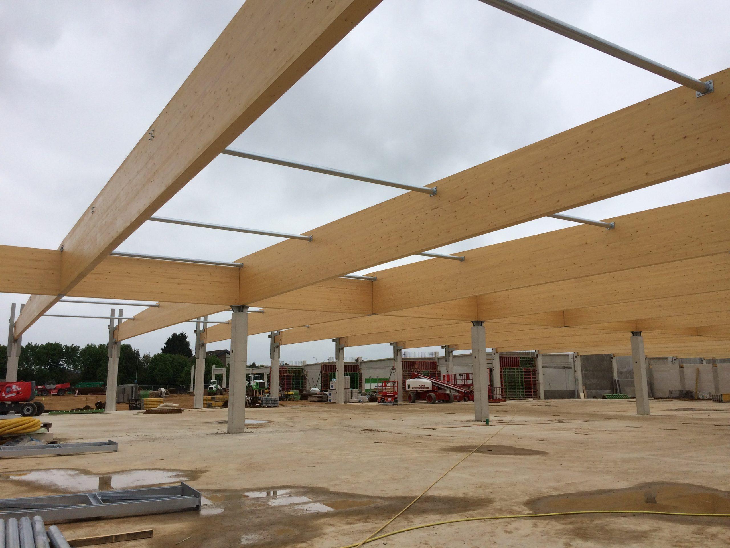 Pultdachbinder Verbrauchermarkt Lebensmittelmarkt BSH- Dachkonstruktion Green Building DGNB